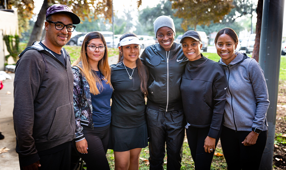 Sloane Stephens with coaches at Loma Alta Park